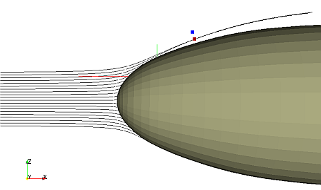 Example trajectories around a fuselage nose